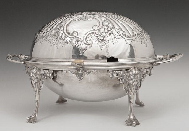 English Silver Plated Revolving Breakfast Dish, early
