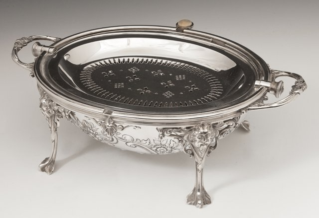 English Silver Plated Revolving Breakfast Dish, early - 2