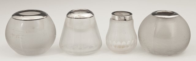 Group of Four English Sterling Top Match Striker Urns,