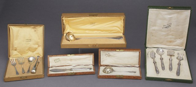 Five Cased Sets of French Cutlery, late 19th c.,