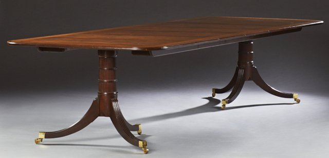 Georgian Style Double Pedestal Banded Mahogany Dining - 2