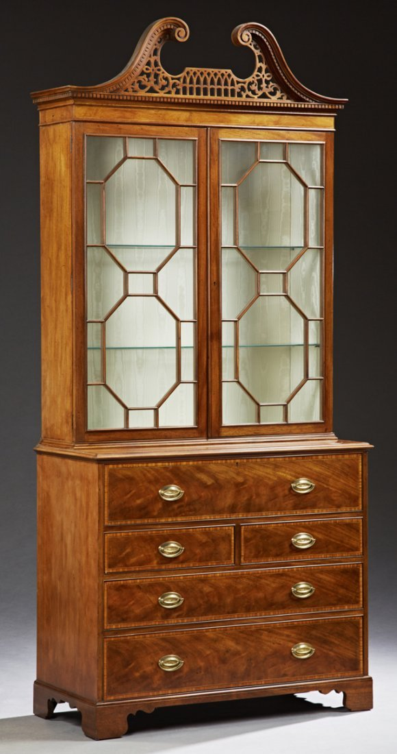 English Style Carved Mahogany Secretary Bookcase, 20th