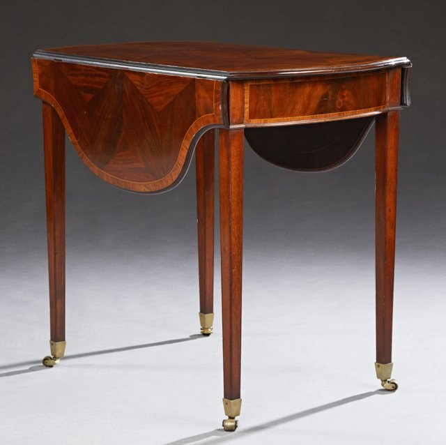 English Inlaid Banded Mahogany Pembroke Table, late