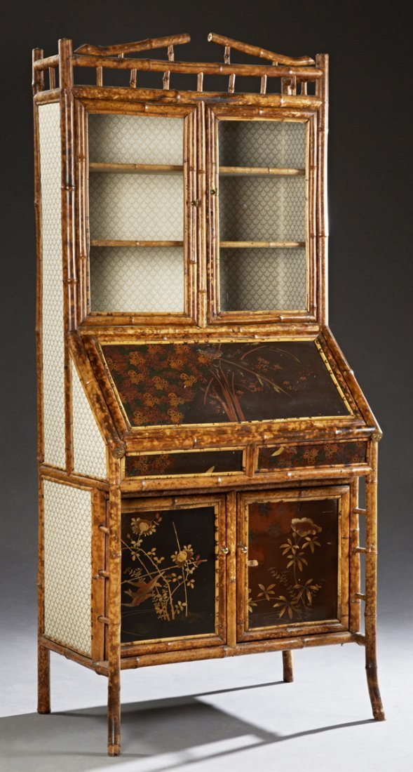 Anglo Indian Bamboo Secretary Bookcase, late 19th c.,