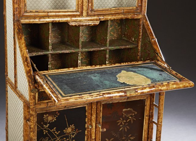 Anglo Indian Bamboo Secretary Bookcase, late 19th c., - 2