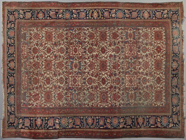 Antique Mahal Carpet, 9' 10 x 14'. Provenance: The Esta