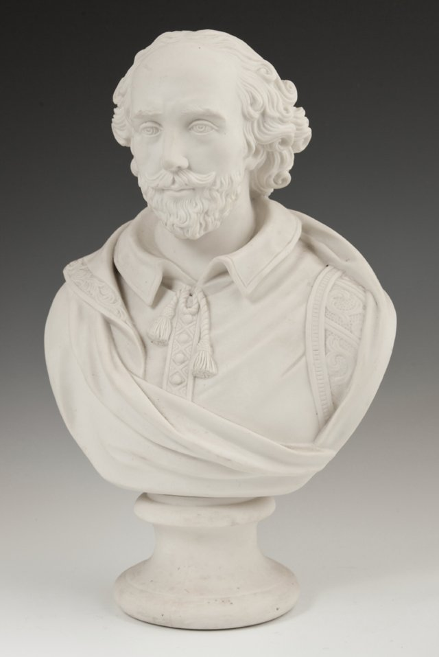 Large Parian Bust, 19th c., of William Shakespeare, on