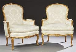 Pair of French Louis XV Style Carved Giltwood Bergeres,