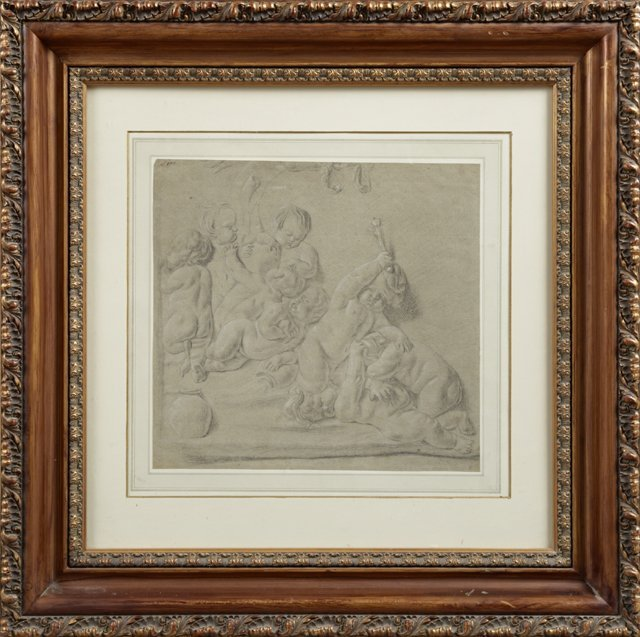 "English School, ""Quarreling Putti,"" 19th c., graphite"