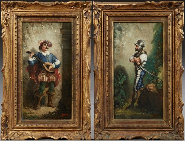 """H. Regnier, """"Troubadour,"""" and """"Knight in Armor,"""" 19th"""