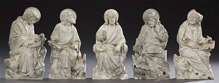 Group of Five Plaster Relief Religious Figures, early