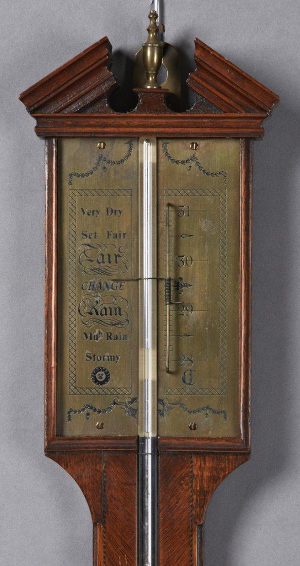 English Inlaid Mahogany Stick Barometer, 19th c., the - 2
