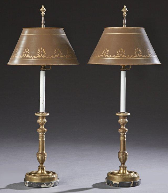 Pair of French Gilt Bronze Candlesticks, 19th c., with