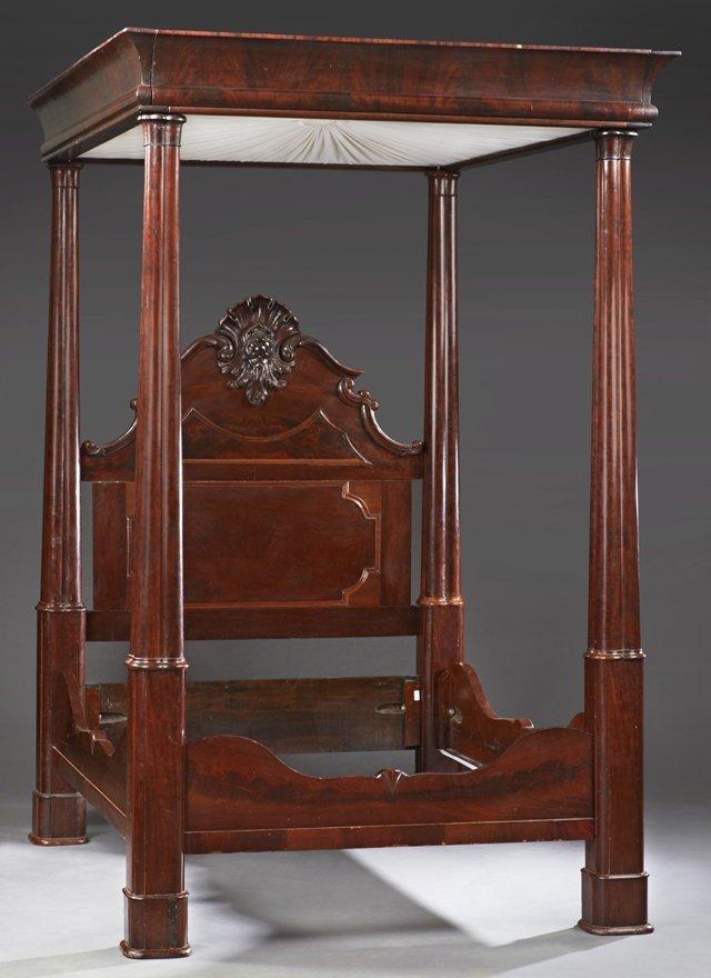 American Rococo Mahogany Full Tester Bed, mid 19th
