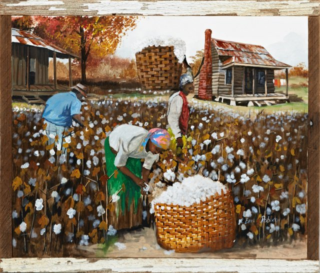 """W. Earl Robinson (1950- , Mississippi), """"Cotton Pickers"""