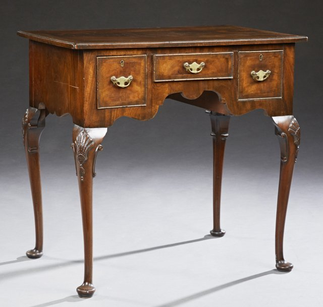 English Carved Banded Mahogany Queen Anne Lowboy, 19th