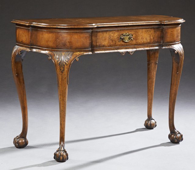 Chippendale Style Carved Inlaid Mahogany Console Table,