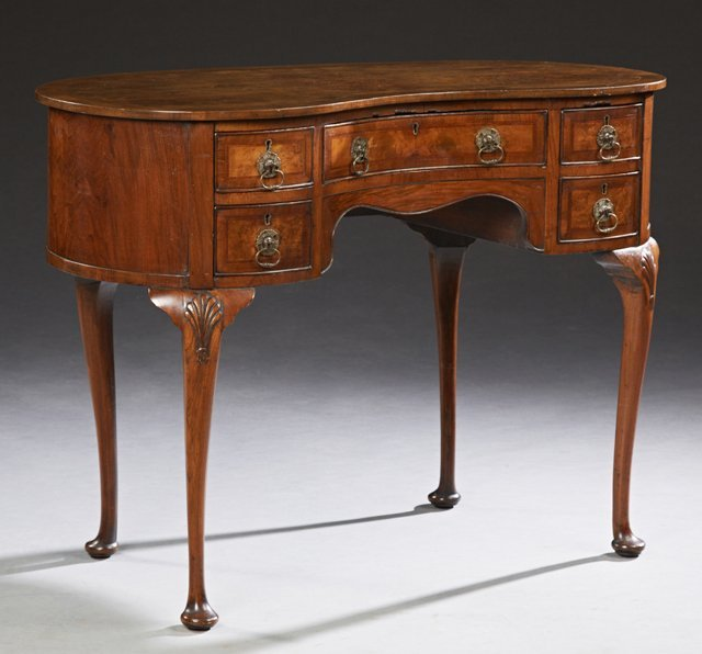 English Banded Walnut Queen Anne Writing Table, early