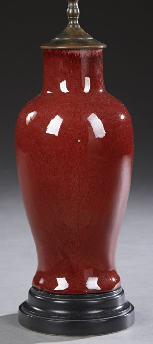 Chinese Oxblood Porcelain Baluster Vase, 20th c., now