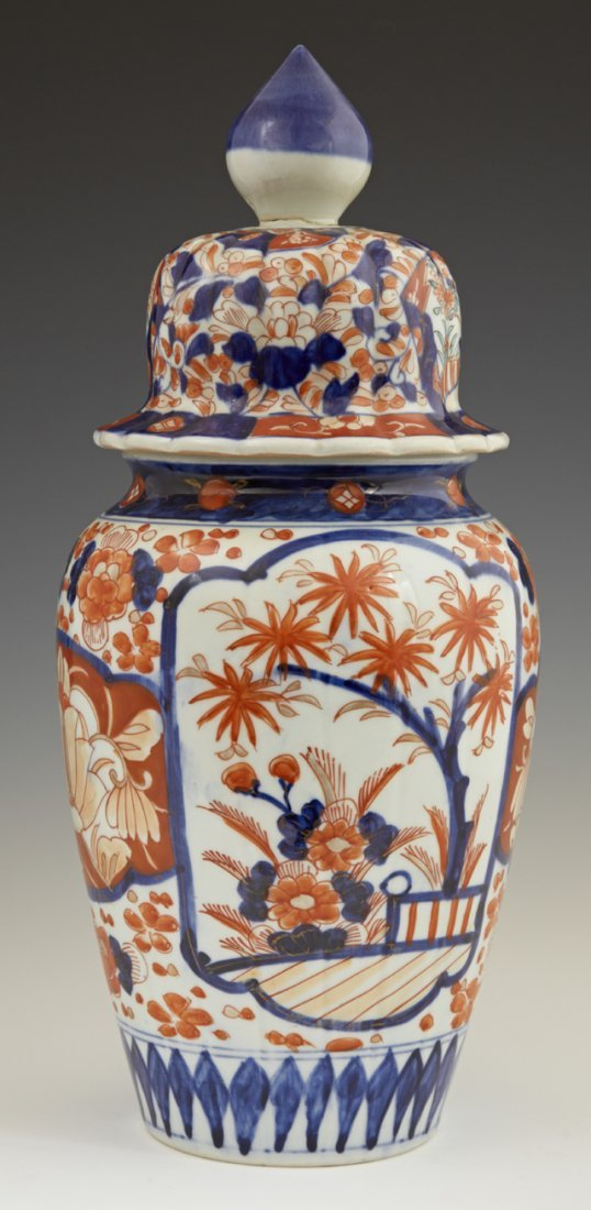 Japanese Imari Covered Baluster Porcelain Ginger Jar,