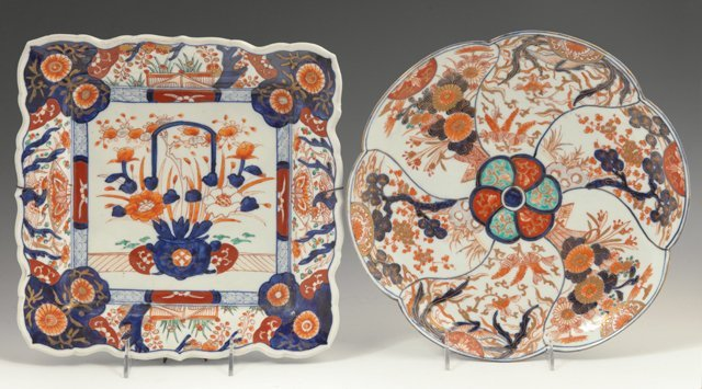 Two Pieces of Imari, 19th c., one a scalloped circular