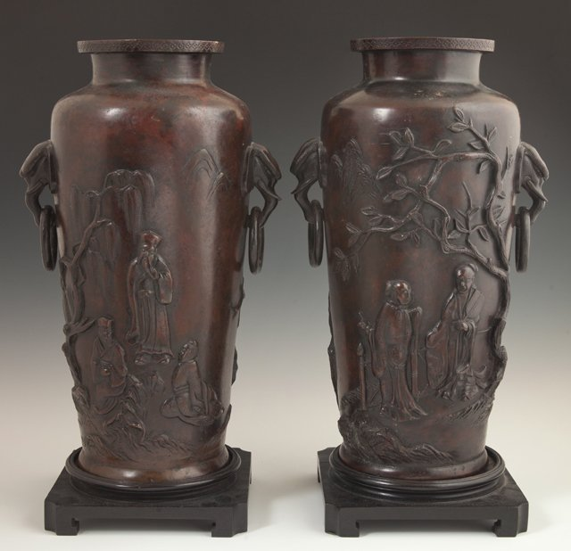 Pair of Tall Japanese Patinated Bronze Baluster Vases,