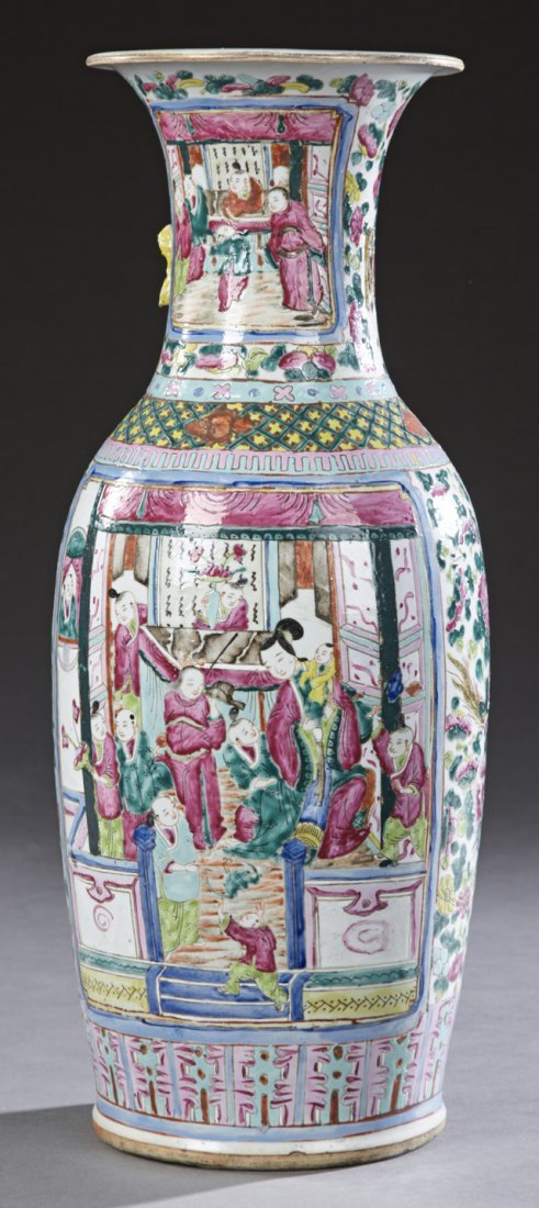 Large Chinese Famille Rose Porcelain Baluster Vase,