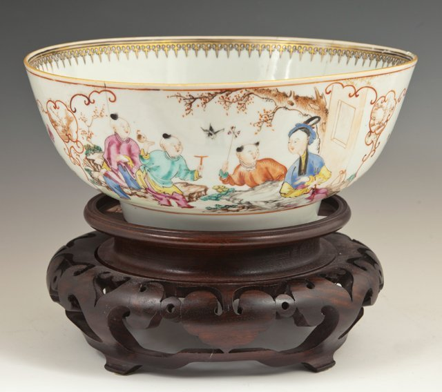 Chinese Famille Rose Punch Bowl, 19th c., the interior