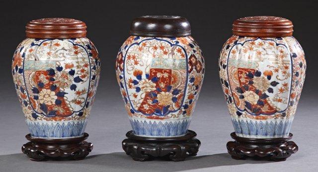 Group of Three Imari Porcelain Baluster Ginger Jars,