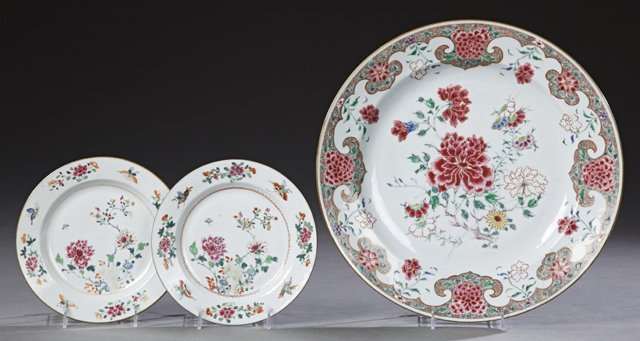Three Chinese Famille Rose Porcelain Pieces, consisting