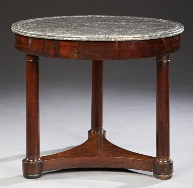 French Empire Style Carved Mahogany Marble Top Center