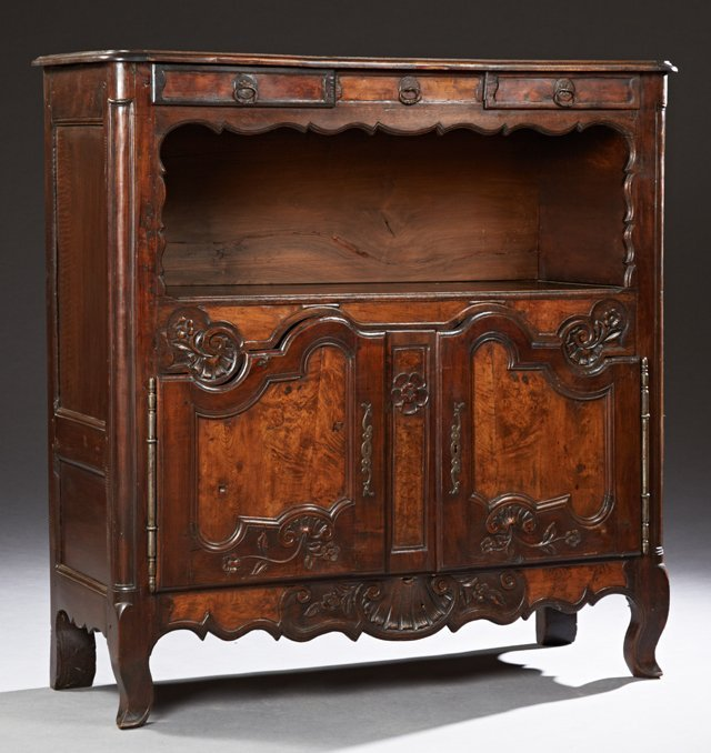 French Provincial Bressan Style Carved Oak Sideboard,