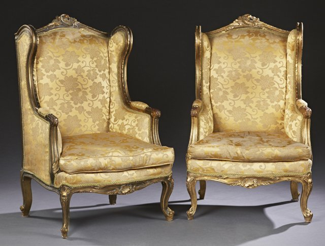 Pair of Louis XV Style Carved Giltwood Wing Bergeres,