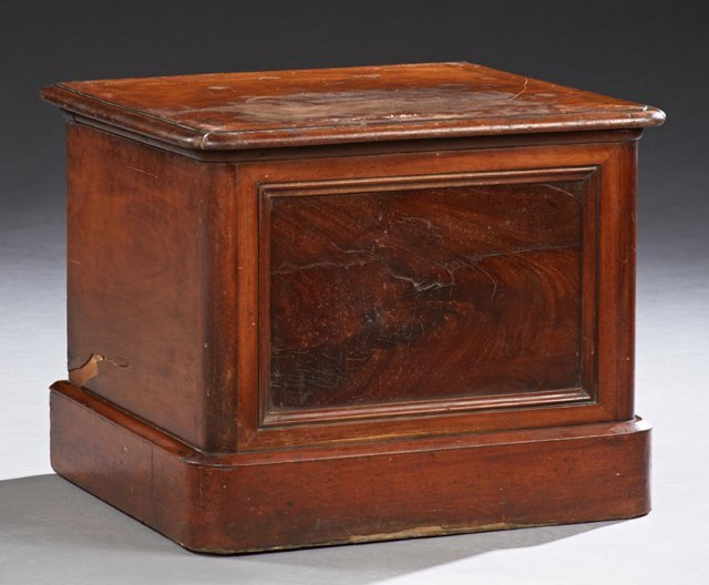 English Victorian Carved Mahogany Bed Step Commode, c.