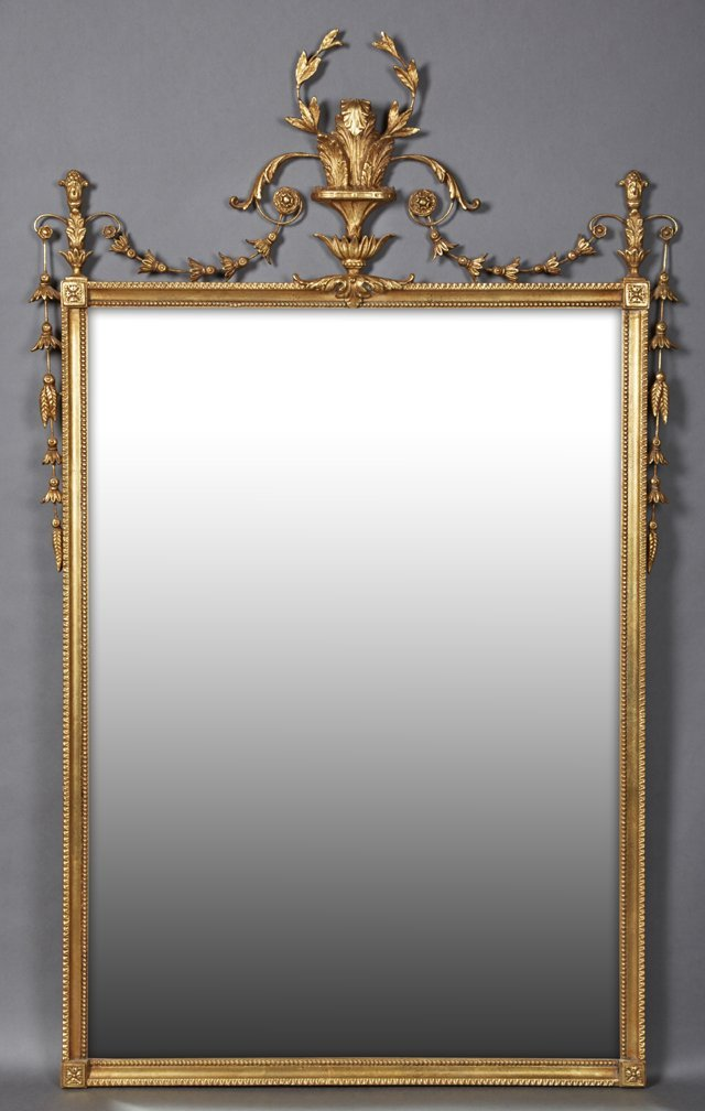 Gilt and Gesso Adams Style Overmantel Mirror, 20th c.,