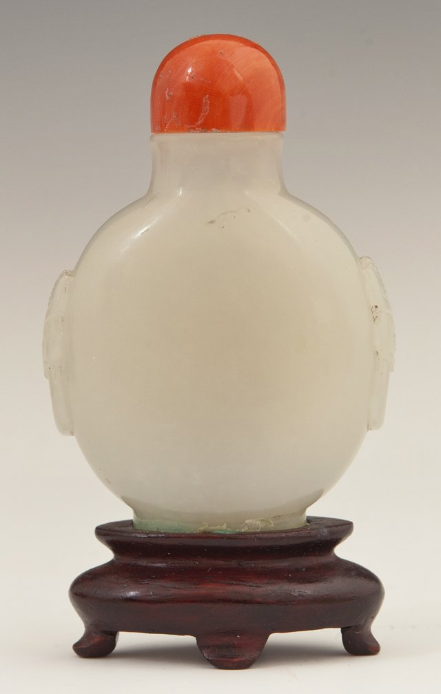 Chinese Carved Jade Snuff Bottle, early 20th c., the