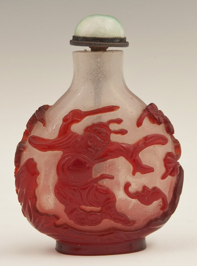 Chinese Red Glass Overlay Snuff Bottle, early 20th c.,