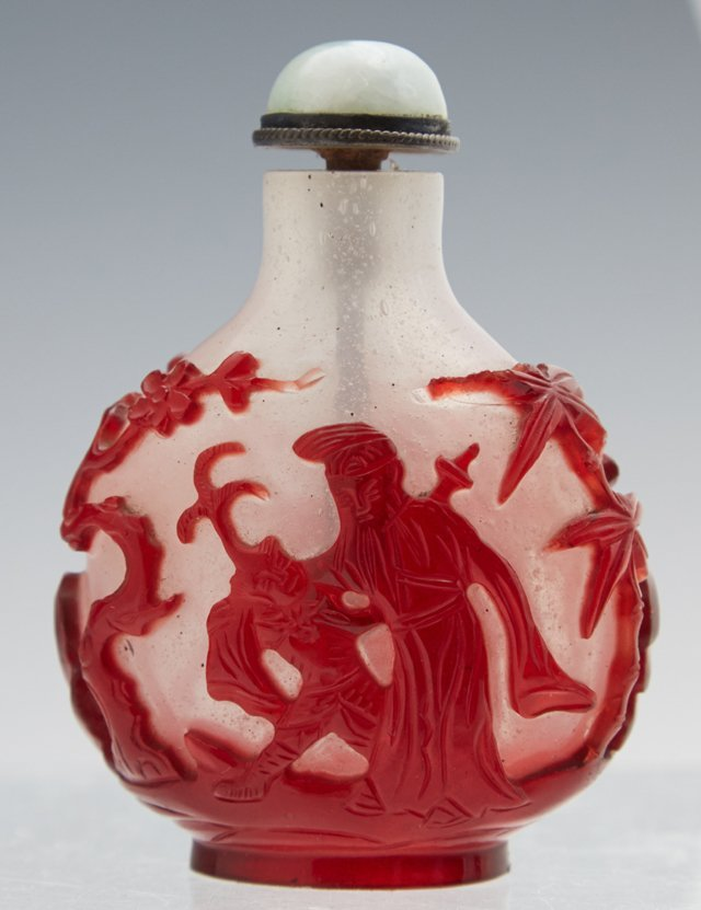 Chinese Red Glass Overlay Snuff Bottle, early 20th c., - 4