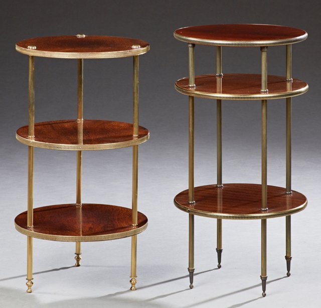 Two French Circular Three Tier Mahogany and Brass Lamp