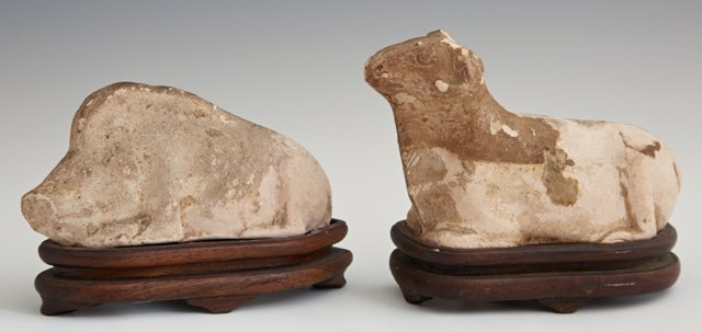 Ancient Byzantine Clay Ram and Hog, on carved wooden