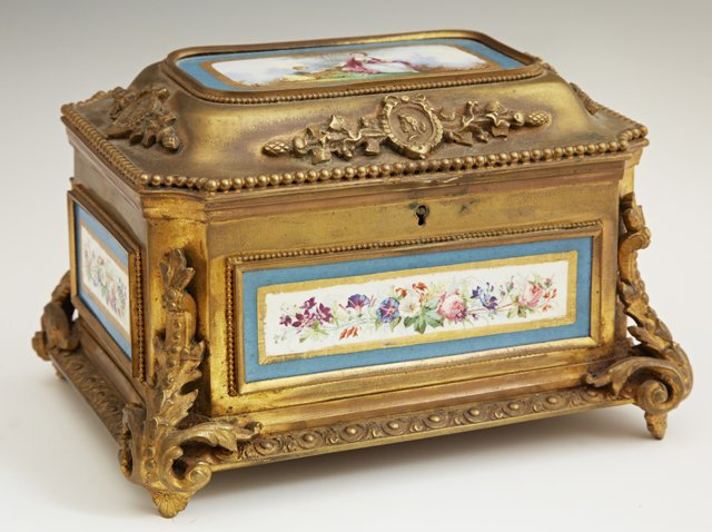 Sevres Style Porcelain and Gilt Bronze Jewelry Casket,