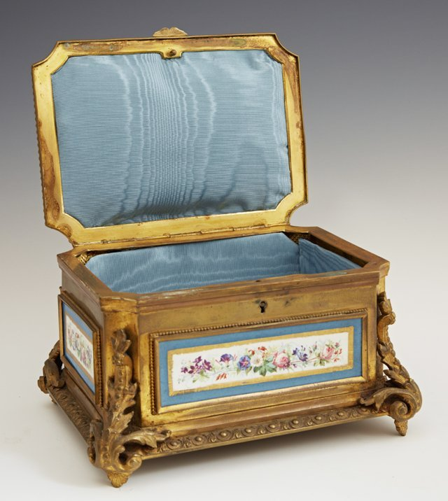 Sevres Style Porcelain and Gilt Bronze Jewelry Casket, - 2