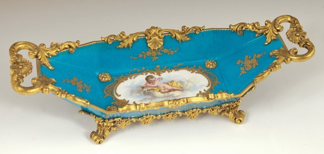 """""""Sevres"""" Style Gilt Bronze Mounted Center Bowl, late"""