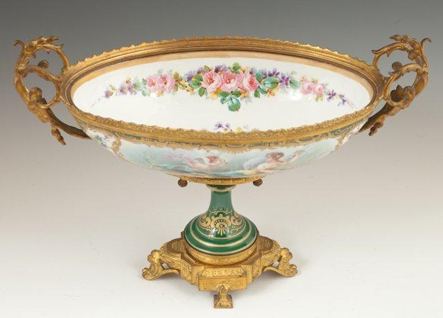 Sevres Style Porcelain Gilt Bronze Mounted Center Bowl, - 2