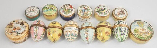 Group of Fourteen Bilston and Battersea Miniature