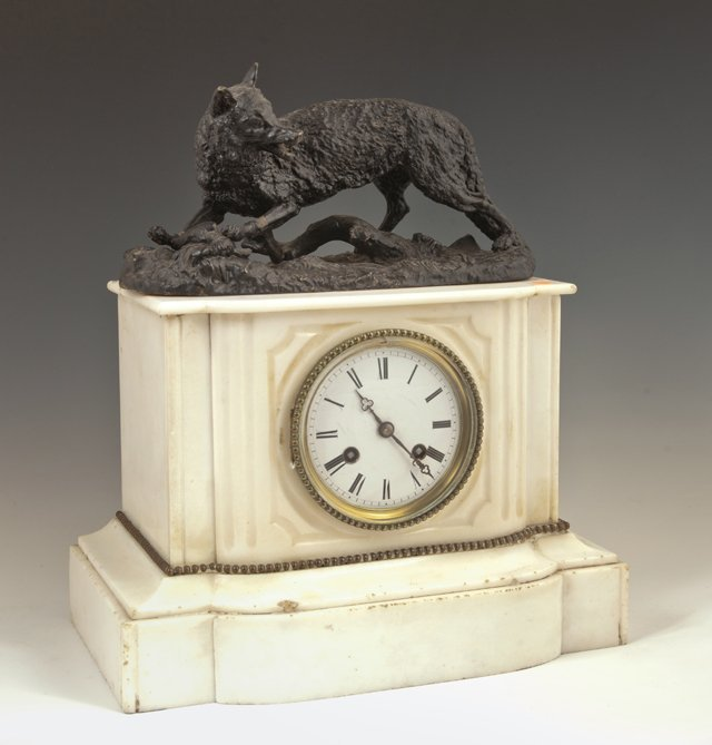 French White Marble Mantel Clock, 19th c., with a