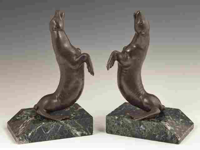 Pair of Patinated Bronze Bookends, 20th c., of sea