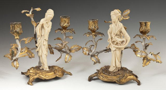 Pair of Gilt Spelter Two Light Figural Candelabra, 20th