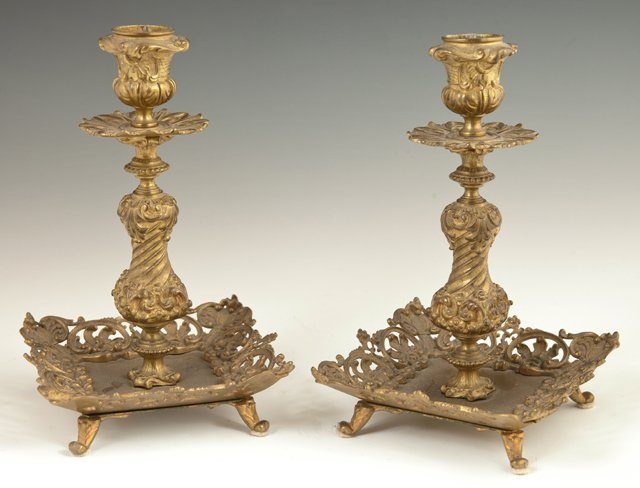 Pair of French Bronze Dore Candlesticks, 19th c., with