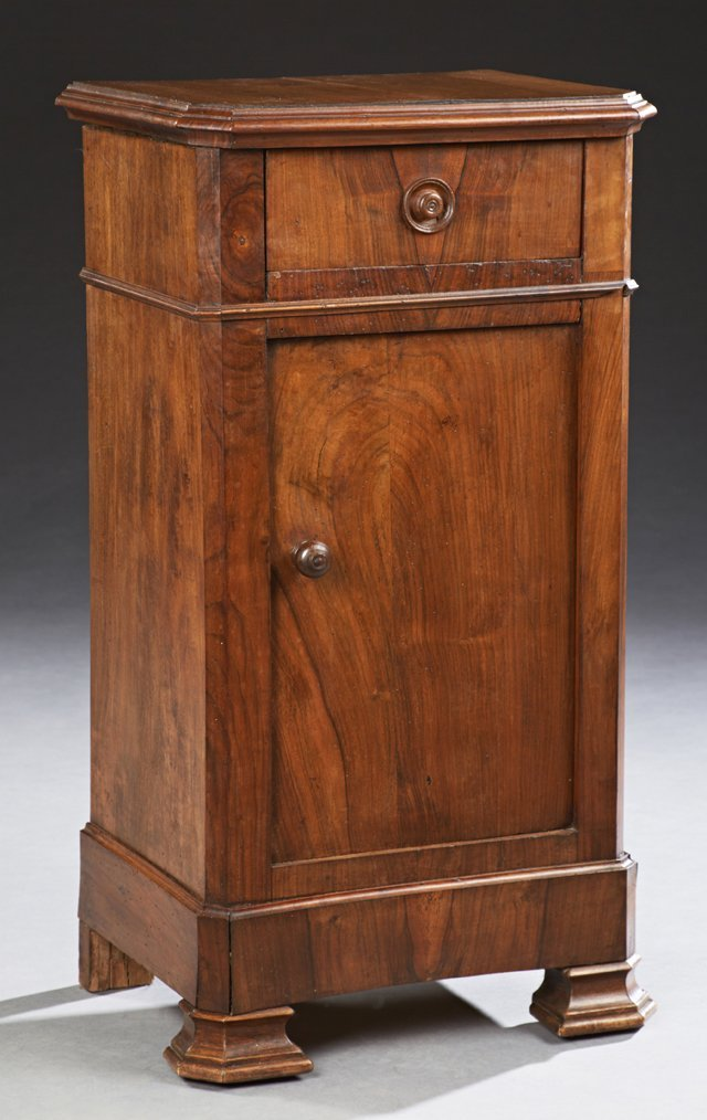 French Louis Philippe Carved Walnut Nightstand, 19th